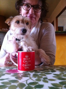 Dog and favourite cup - my way to start the day with a strong, sweet coffee
